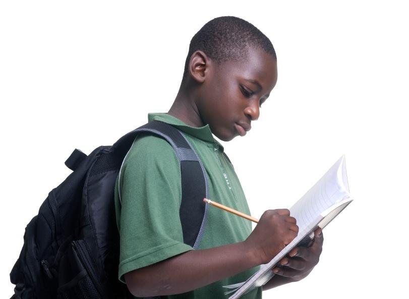 African American Boy Doing School Work